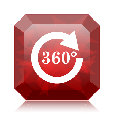 Reload 360 icon, red website button on white background. Stock Photo