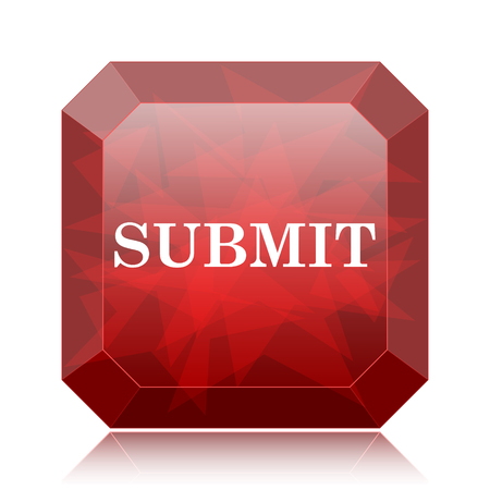 submitting: Submit icon, red website button on white background.