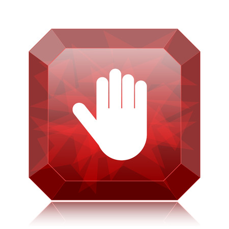 Stop icon, red website button on white background.