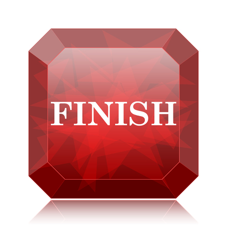abort: Finish icon, red website button on white background. Stock Photo