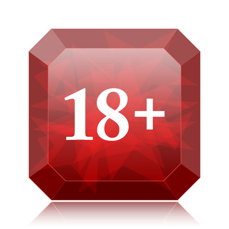 18 plus icon, red website button on white background.
