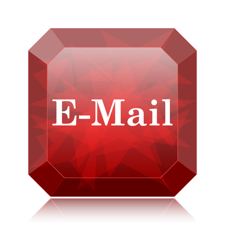 E-mail icon, red website button on white background.