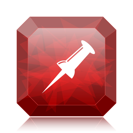 Pin icon, red website button on white background.