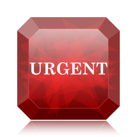 promptness: Urgent icon, red website button on white background.