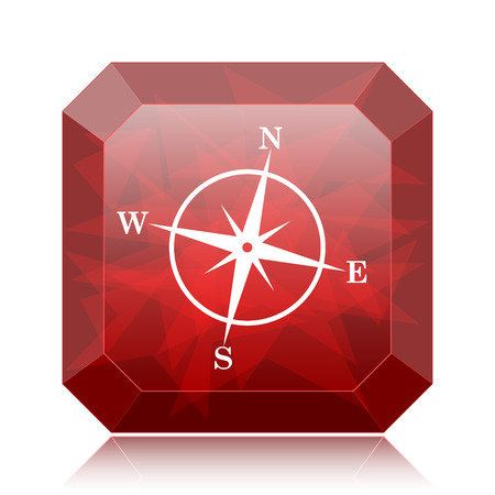 geodesy: Compass icon, red website button on white background. Stock Photo