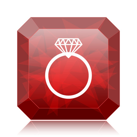 Diamond ring icon, red website button on white background. Stock Photo