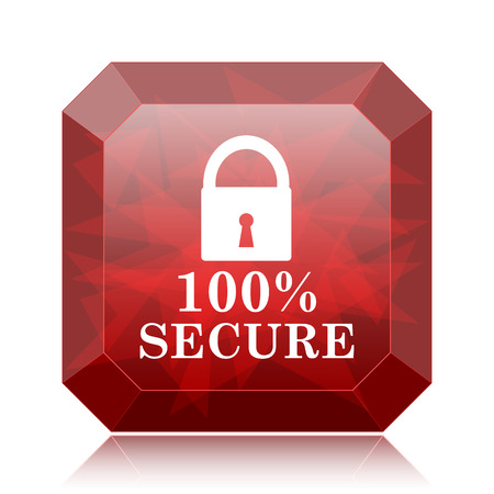 100 percent secure icon, red website button on white background.