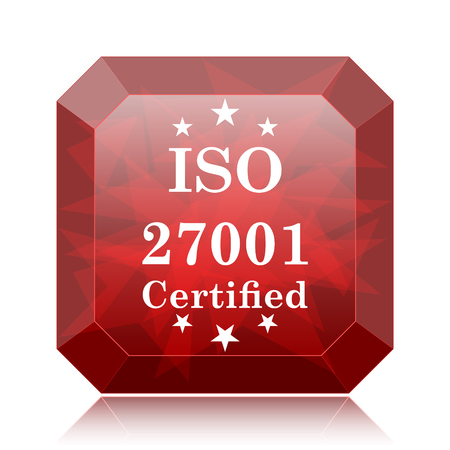 ISO 27001 icon, red website button on white background.