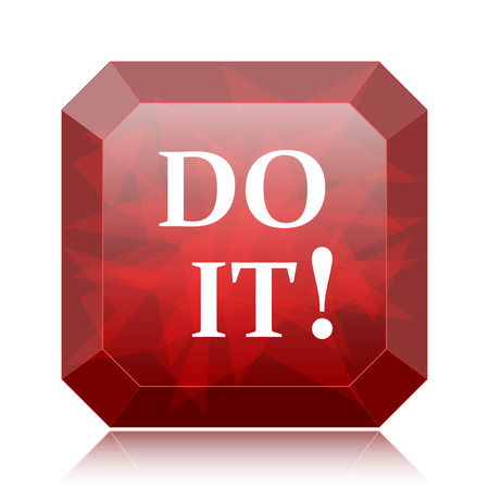 just do it: Do it icon, red website button on white background. Stock Photo