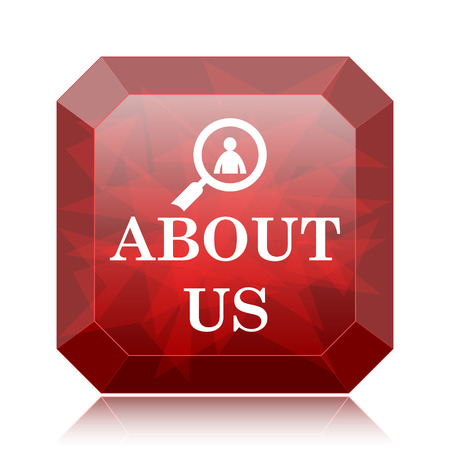 about us: About us icon, red website button on white background.
