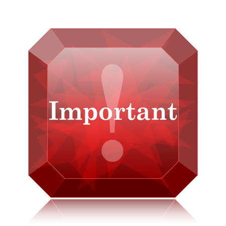 notable: Important icon, red website button on white background. Stock Photo