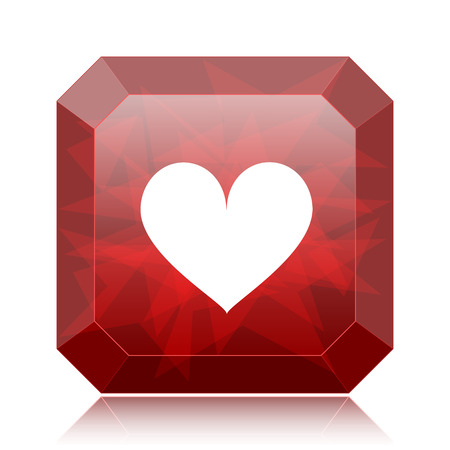 white heart: Heart icon, red website button on white background.
