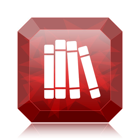 Books library icon, red website button on white background.