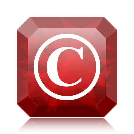Copyright icon, red website button on white background. Stock Photo