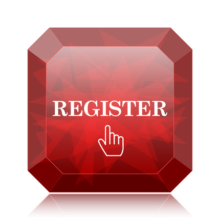 Register icon, red website button on white background. Stock Photo