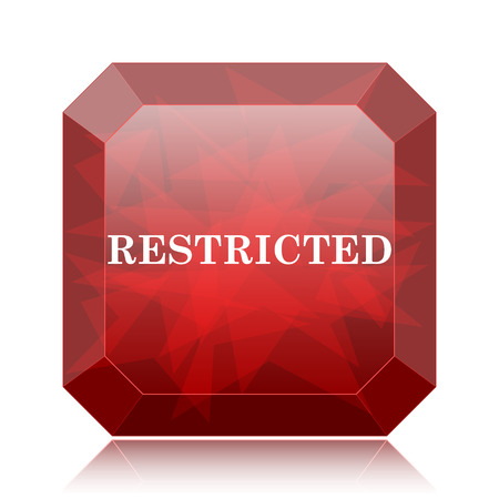 Restricted icon, red website button on white background. Stock Photo
