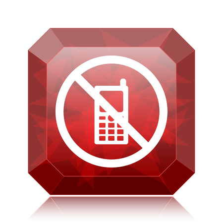 use regulations: Mobile phone restricted icon, red website button on white background. Stock Photo