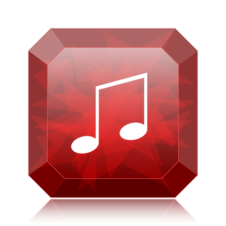 melodic: Music icon, red website button on white background. Stock Photo