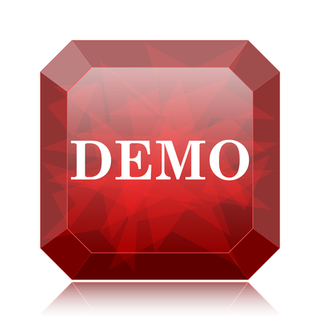 Demo icon, red website button on white background. Stock Photo