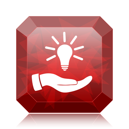 Hand holding lightbulb.Idea icon, red website button on white background. Stock Photo