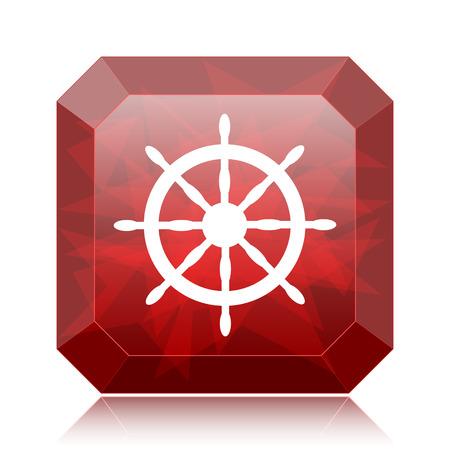 Nautical wheel icon, red website button on white background.