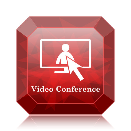 manpower: Video conference, online meeting icon, red website button on white background.