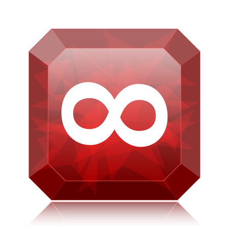 Infinity sign icon, red website button on white background. Stock Photo