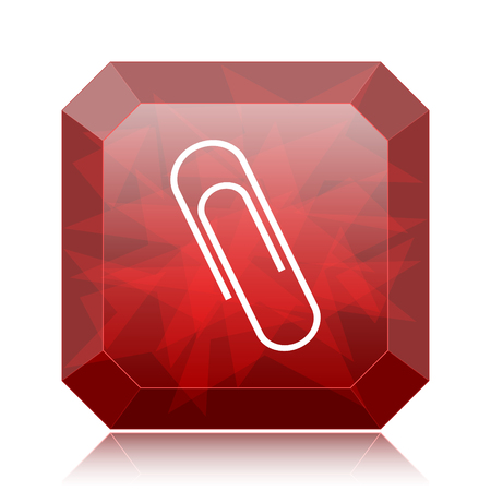 Paperclip icon, red website button on white background.