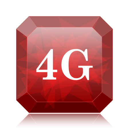 4G icon, red website button on white background. Stock Photo