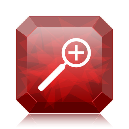 Zoom in icon, red website button on white background. Stock Photo
