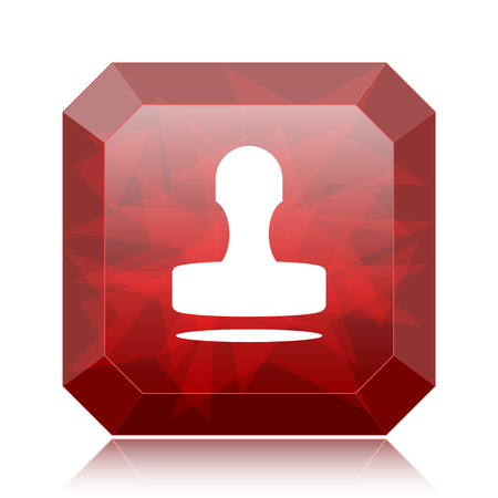 Stamp icon, red website button on white background. Stock Photo