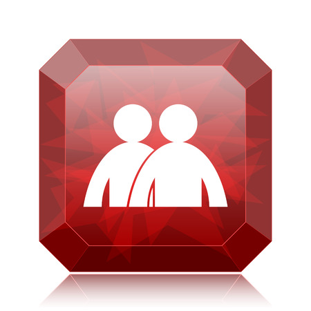 Forum icon, red website button on white background.