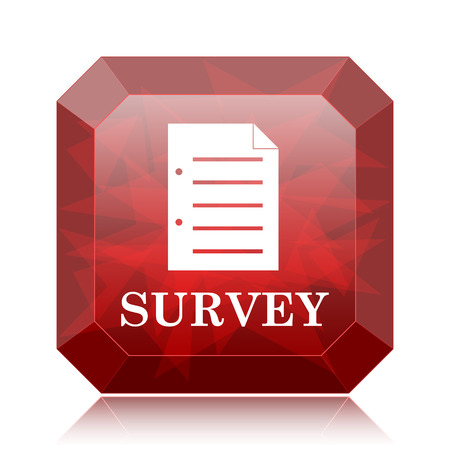 Survey icon, red website button on white background.