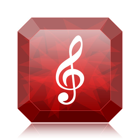 Musical note icon, red website button on white background.