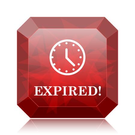 expiration: Expired icon, red website button on white background. Stock Photo