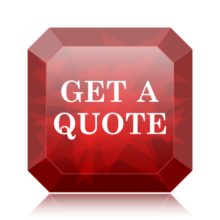 Get a quote icon, red website button on white background.