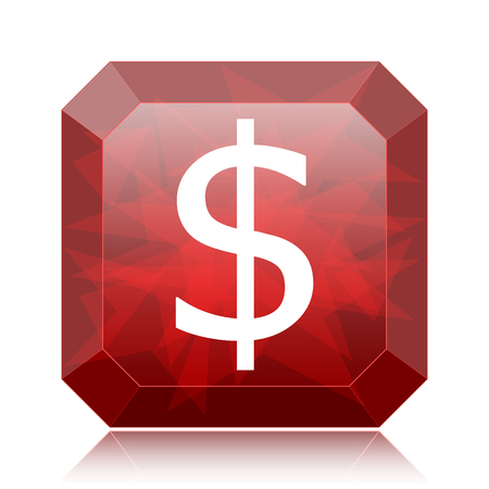 Dollar icon, red website button on white background.