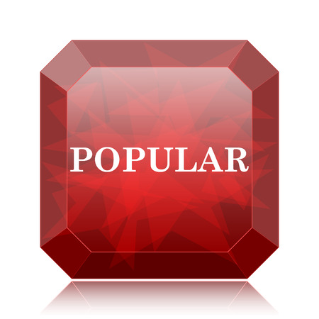 most popular: Popular  icon, red website button on white background.