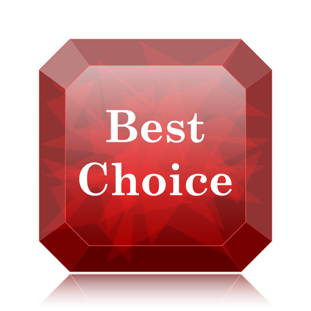 Best choice icon, red website button on white background.