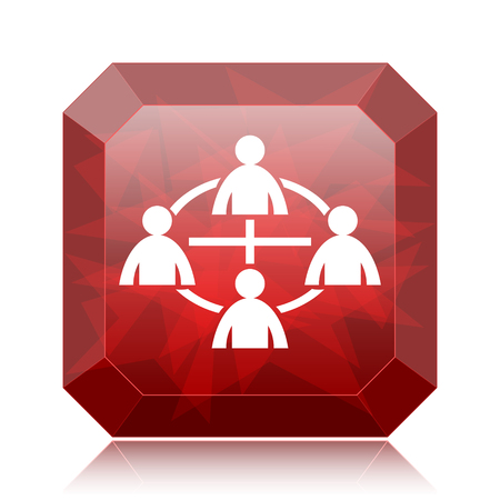 social gathering: Communication icon, red website button on white background.
