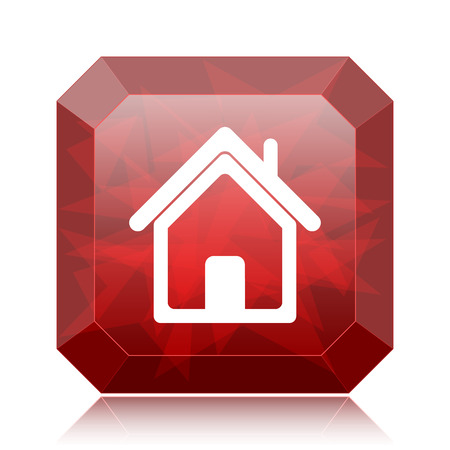 Home icon, red website button on white background. Stock Photo
