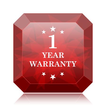 1 year warranty: 1 year warranty icon, red website button on white background.