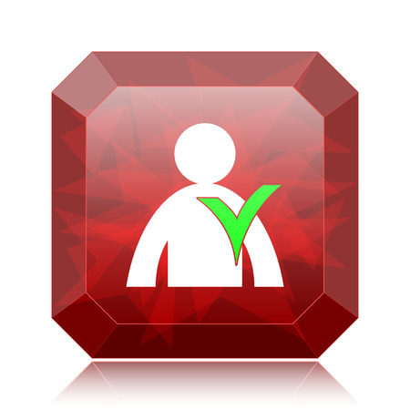 User online icon, red website button on white background.