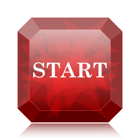 proceed: Start icon, red website button on white background. Stock Photo
