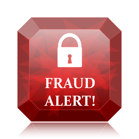 Fraud alert icon, red website button on white background.