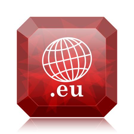 .eu icon, red website button on white background.