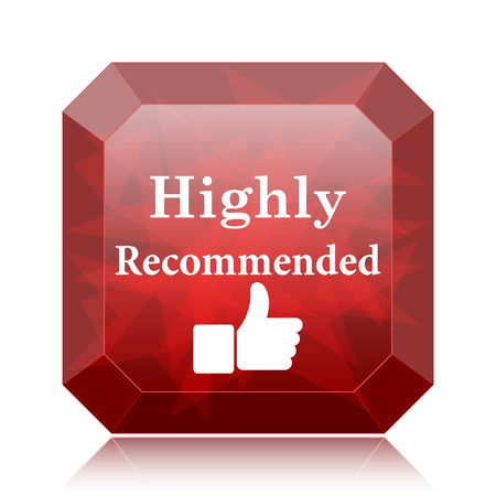 Highly recommended icon, red website button on white background.
