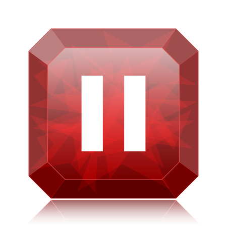 Pause icon, red website button on white background.