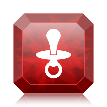 teething: Pacifier icon, red website button on white background. Stock Photo