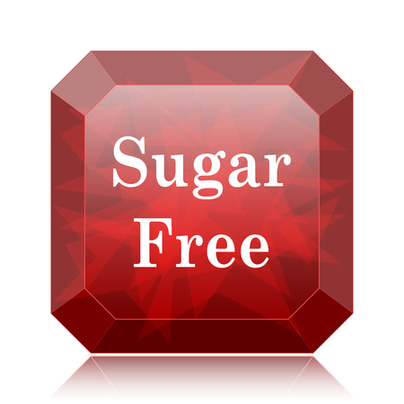 Sugar free icon, red website button on white background. Stock Photo